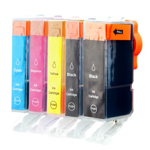 Tonery Náplně Canon PGI-525, Canon CLI-526 kompatibilná kazety s čipom (2xčerná + 3xbarvy)