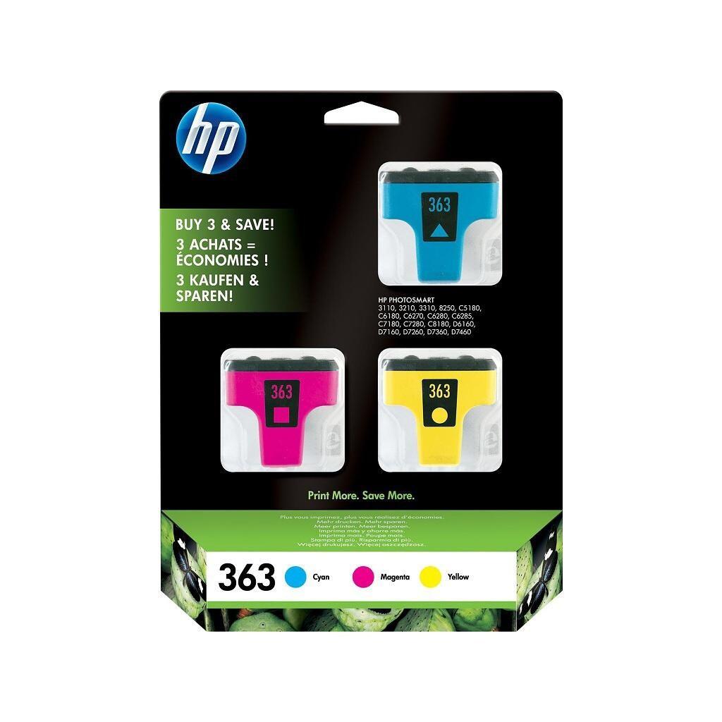 Cartridge HP 363, HP CB333EE multipack (Azúrová, Purpurová, Žltá) - originálný