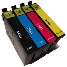 Tonery Náplně Epson T1816, kompatibilné kazety (čierna, azúrová, purpurová, žltá) s čipom