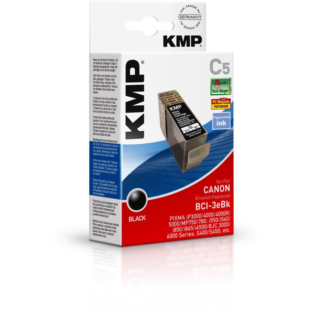 KMP Cartridge Canon BCI-3eBK, - kompatibilný s čipom (Čierna)