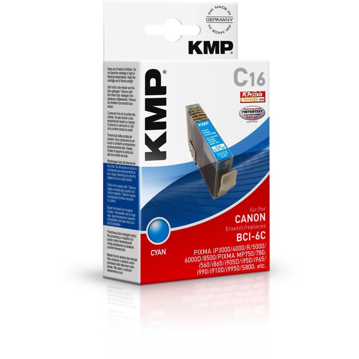 KMP Cartridge Canon BCI-6C, - kompatibilný s čipom (Azúrová)
