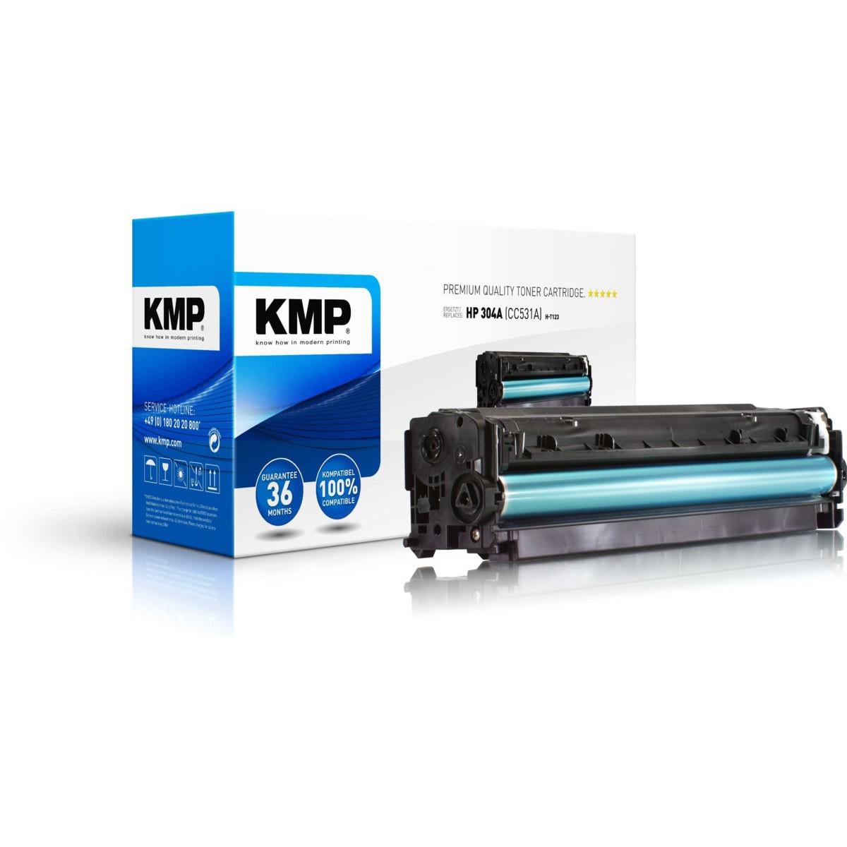 KMP Toner HP 304A, HP CC531A, - kompatibilný s čipom (Azúrový)