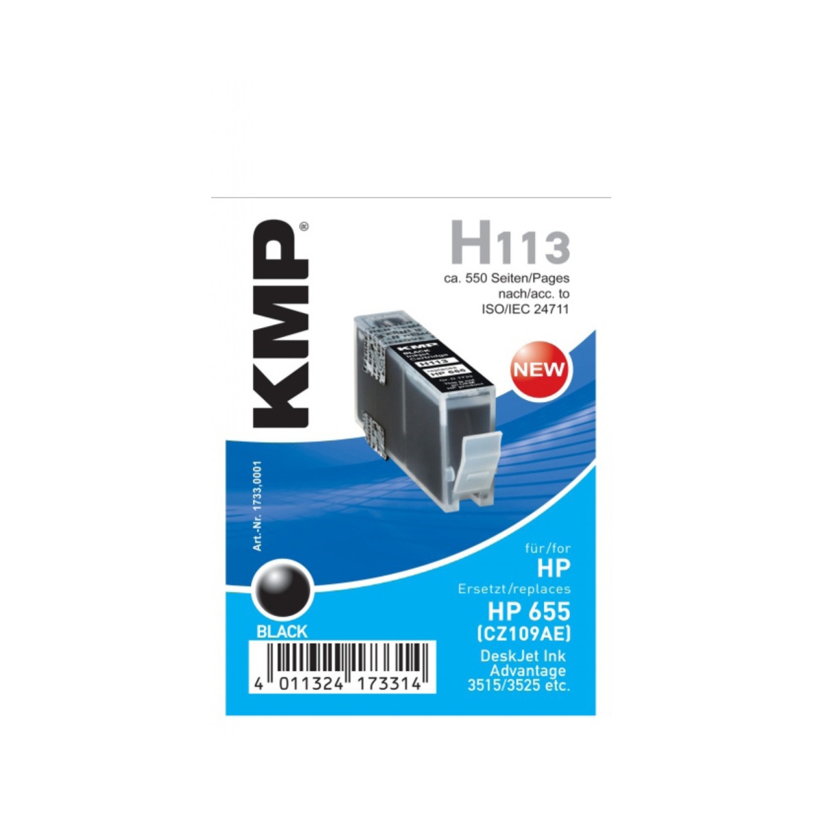 KMP Cartridge HP 655, HP CZ109AE, - kompatibilný s čipom (Čierna)