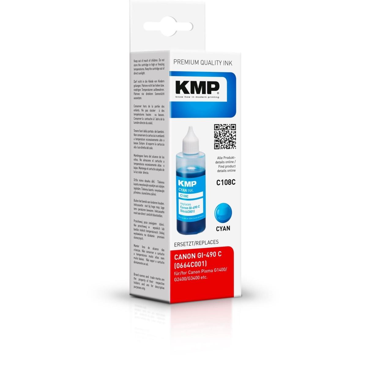 KMP Canon GI-490C - kompatibilný s čipom