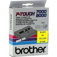 Páska do tlačiarne štítkov Brother TX-651, 24mm, čierny tlač / žltý podklad, O