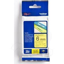 Páska do tlačiarne štítkov Brother TX-611, 6mm, čierny tlač / žltý podklad, laminátová