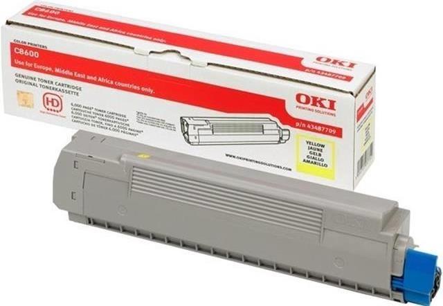 Oki Toner OKI C8600, žltý, 43487709, 6000s, O - originál