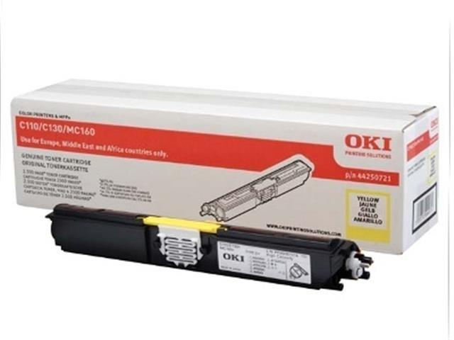 Oki Toner OKI C110 / 130n, yellow, 44250721, 2500s, O - originál