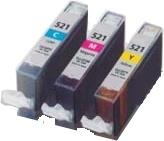Tonery Náplně Cartridge Canon CLI-521 (C + M + Y) sada kompatibilný s čipom