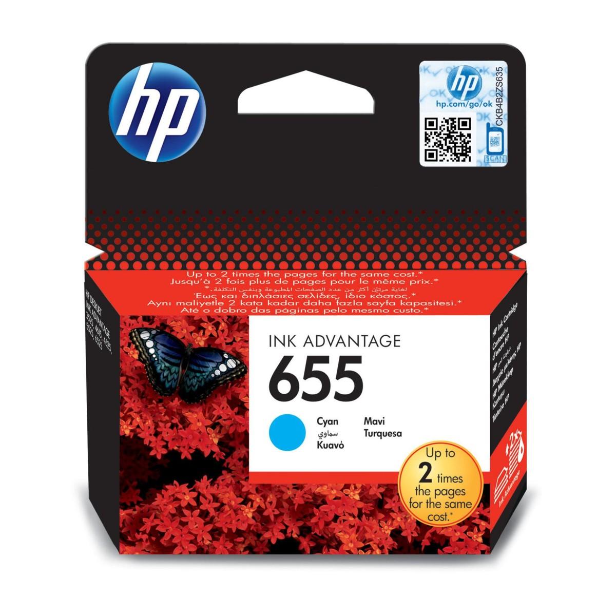 Cartridge HP 655, HP CZ110AE - originálný (Azúrová)