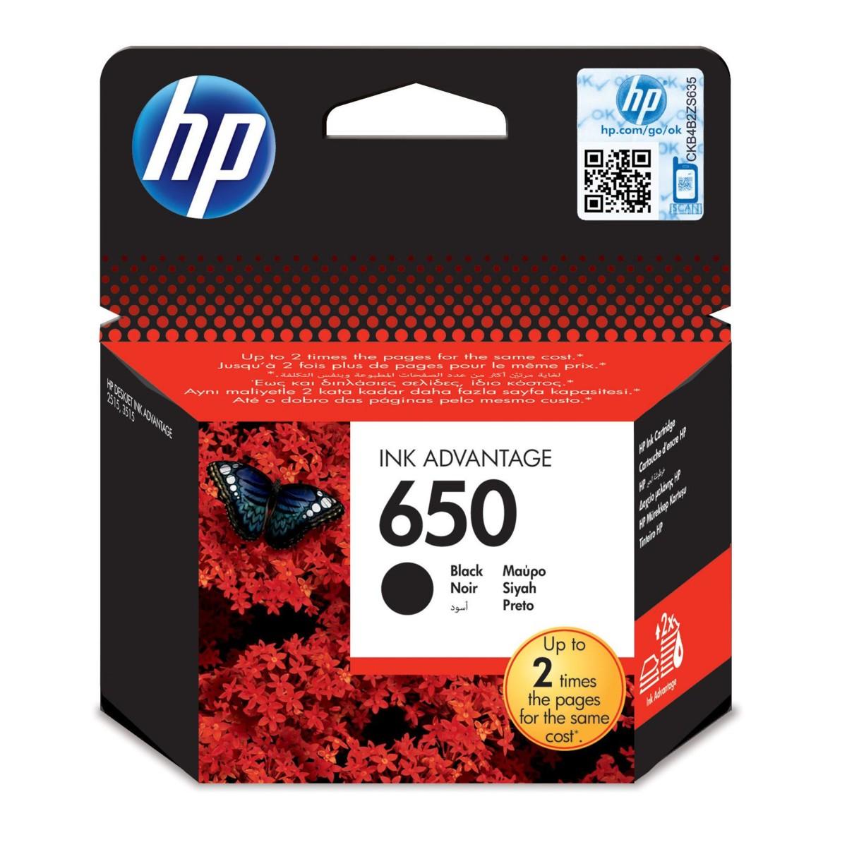 Cartridge HP 650, HP CZ101AE - originálný (Čierna)