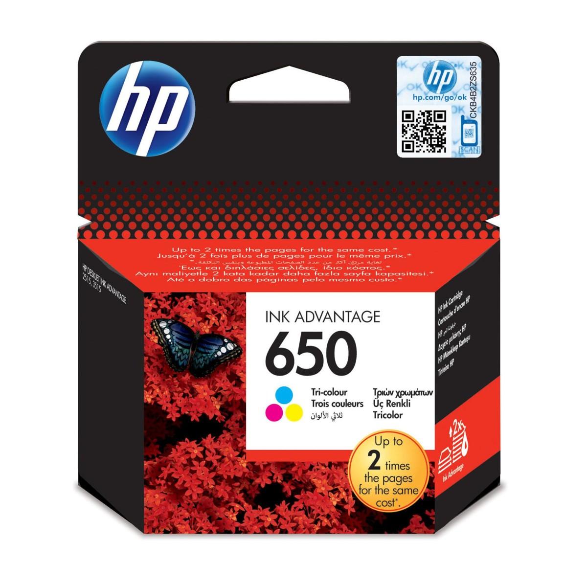 Cartridge HP 650, HP CZ102AE - originálný (Farebná)
